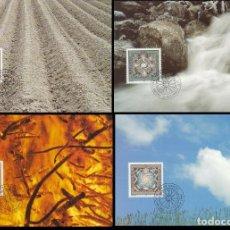 Sellos: LIECHTENSTEIN IVERT 1040/3, LOS CUATRO ELEMENTOS: AIRE, FUEGO, AGUA Y TIERRA, 4 MAXIMAS DE 5-12-1994. Lote 278577713