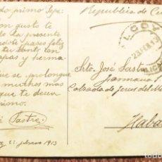 Francobolli: TARJETA CIRCULADA DE ALCOY A LA HABANA 1913. Lote 280386128