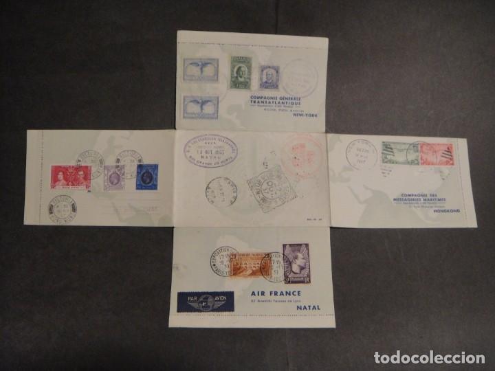 HOJA CON SELLOS Y MATASELLOS CORREO AEREO, U.S.A. , BRASIL , FRANCIA , HONG KONG - AÑO 1937 (Sellos - Extranjero - Tarjetas)