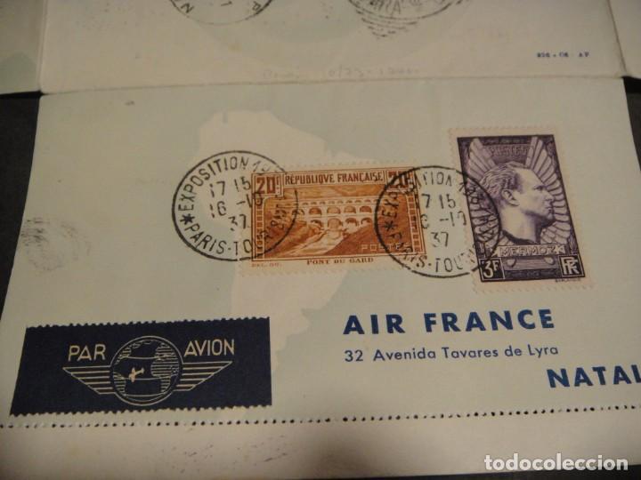 Sellos: hoja con sellos y matasellos correo aereo, u.s.a. , brasil , francia , hong kong - año 1937 - Foto 2 - 282482228