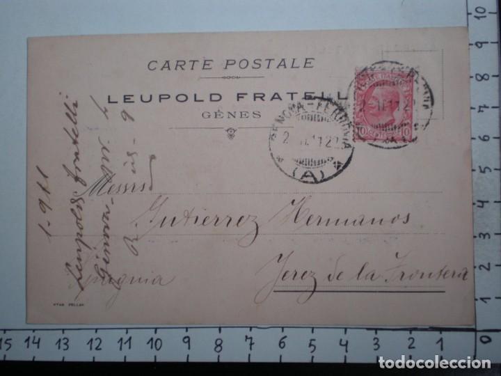 GENOVA ITALIA TARJETA AÑO 1912 LEUPOLD FRATELL CIRCULADA Y CON FISCAL EN PARTE POSTERIOR (Sellos - Extranjero - Tarjetas)