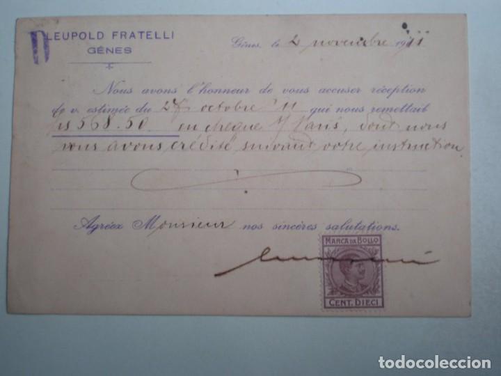 Sellos: GENOVA ITALIA TARJETA AÑO 1912 LEUPOLD FRATELL CIRCULADA Y CON FISCAL EN PARTE POSTERIOR - Foto 2 - 283007803