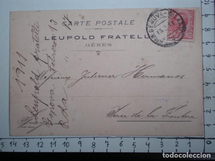 AMBULANTE GENOVA MILÁN ITALIA TARJETA AÑO 1911 LEUPOLD FRATELL CIRCULADA FISCAL POSTERIOR (Sellos - Extranjero - Tarjetas)