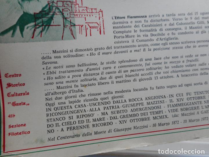 Sellos: ANTIGUA TARJETA.MAZZINI A GAETA.CENTENARIO MAZZINIANO.1972. ITALIA. GIUSEPPE MAZZINI. - Foto 3 - 284761388