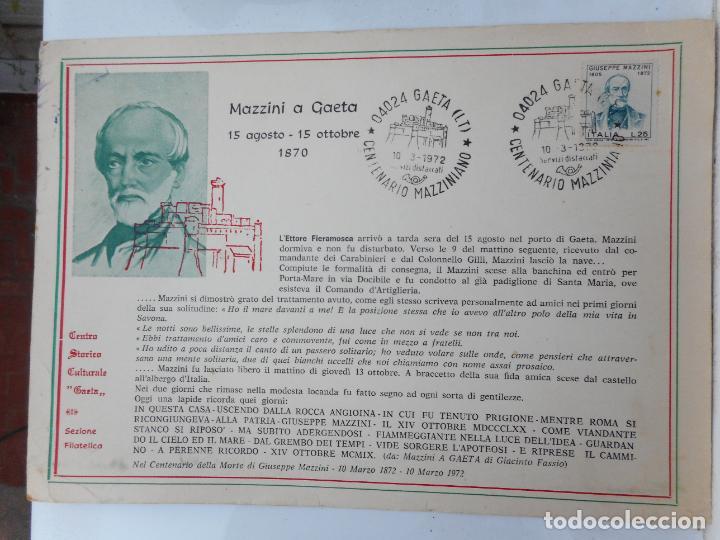 ANTIGUA TARJETA.MAZZINI A GAETA.CENTENARIO MAZZINIANO.1972. ITALIA. GIUSEPPE MAZZINI. (Sellos - Extranjero - Tarjetas)
