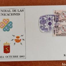 Sellos: ESPAÑA, SOBRE CONMEMORATIVO AÑO MUNDIAL DE LAS TELECOMUNICACIONES, ZARAGOZA 1983.. Lote 285054853
