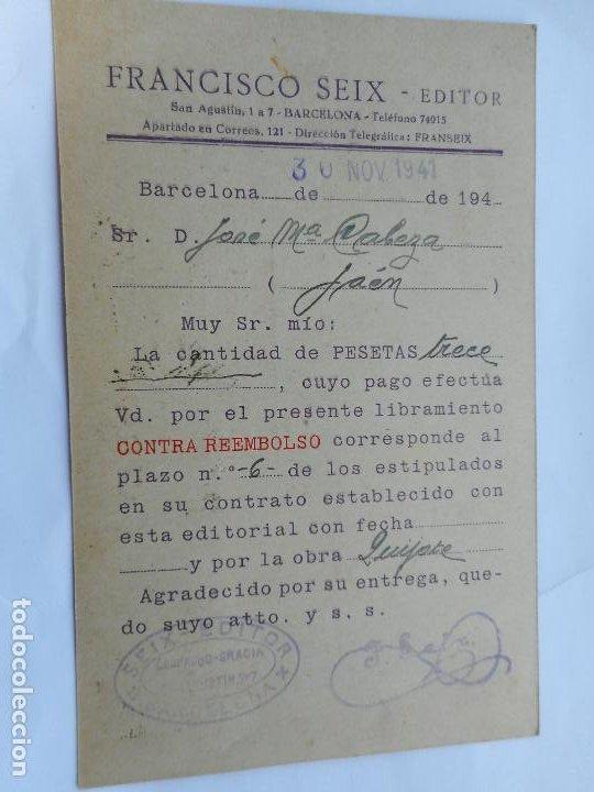 Sellos: ANTIGUA TARJETA.SEIX EDITOR.REEMBOLSO.CERTIFICADO BARCELONA 1941.JOSE MARIA CABEZA MENENDEZ.JAEN. - Foto 2 - 287592188