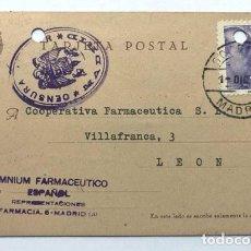 Sellos: TARJETA POSTAL AÑO 1939 / CENSURA MADRID / FRANQUEO LEÓN / COOPERATIVA FARMACÉUTICA. Lote 288029208