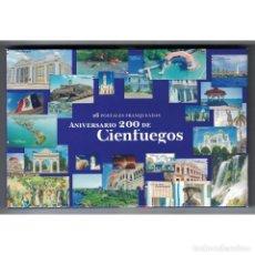 Sellos: CUBA 2018 200TH ANNIVERSARY OF CIENFUEGOS - 26 POSTCARDS - ARCHITECTURE. Lote 289944803
