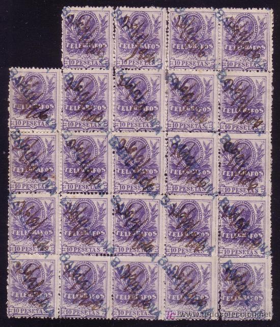 ESPAÑA.(CAT.46/GRAUS 1188-II).10PTAS. GRAN BLOQUE DE 24. FALSO POSTAL TIPO II. MAGNÍFICO Y MUY RARO. (Sellos - España - Telégrafos)