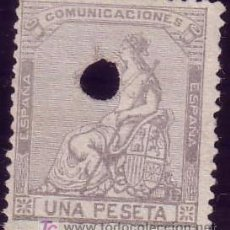 Sellos: ESPAÑA. (CAT. 138T). 1 PTA. TALADRO TELÉGRAFOS. MUY BONITO.. Lote 24378709