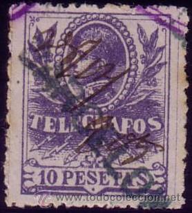 ESPAÑA. (CAT. 46/GRAUS 1188-I). 10 PTAS. FALSO POSTAL TIPO I. CENTRAJE PERFECTO. LUJO. (Sellos - España - Telégrafos)