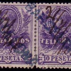 Sellos: ESPAÑA. (CAT.46/GRAUS 1188-II). 10 PTAS. PAREJA. FALSO POSTAL TIPO II. MARCA BARCELONA Y FECHA MNS.. Lote 25855307