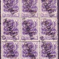 Sellos: ESPAÑA. (CAT. 46/GRAUS 1188-II). 10 PTAS. BLOQUE DE 9. FALSO POSTAL TIPO II. MARCA BARCELONA. LUJO.. Lote 24114448