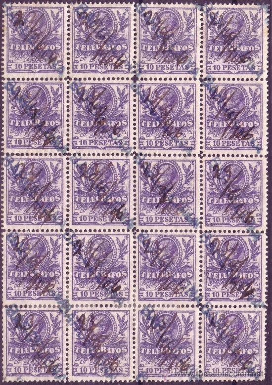 ESPAÑA.(CAT.46/GRAUS 1188-III).10P. BLOQUE D 20.FALSO POSTAL TIPO III.EXTRAORDINARIAMENTE RARO.LUJO (Sellos - España - Telégrafos)