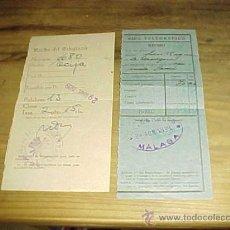 Sellos: GIRO TELEGRAFICO. RECIBO DE TELEGRAMA. DE MALAGA - LA LINEA. AÑO 1939.. Lote 19538751
