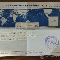 Sellos: TELEGRAMA ANTIGUO DE ESPAÑA DE 1958. TRANSRADIO ESPAÑOLA. MIDE 16,5 CM X 21,5 CM. Lote 89536250