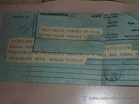 Sellos: lote de 9 antiguos telegramas españoles. De gente importante catalana. TIBIDABO SA. barcelona. - Foto 7 - 24079668