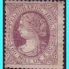 Sellos: TELÉGRAFOS 1868 ISABEL II, EDIFIL Nº 21 * . Lote 25631849