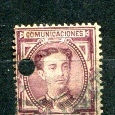 Sellos: EDIFIL 181. 4 PTS ALFONSO XII. AÑO 1876. CON TALADRO DE TELÉGRAFOS... Lote 30204324