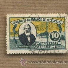 Sellos: VIÑETA COLEGIO DE HUÉRFANOS DE TELÉGRAFOS.89º ANIVERSARIO. 1855-1944 10 CTS. MORSE.. Lote 30371289