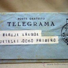 Sellos: TELEGRAMA, PORTE GRATUITO, TELEGRAFOS VALENCIA, 1947. Lote 32861227