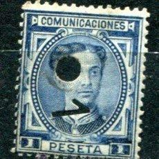 Sellos: EDIFIL 180 T DE TELÉGRAFOS. 1 PTS ALFONSO XII, AÑO 1876. CON TALADRO Y UN UNO. Lote 39045463