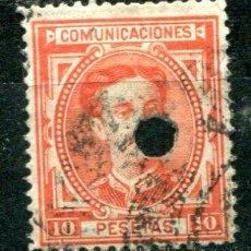 Sellos: EDIFIL 182 T DE TELÉGRAFOS. 10 PTS ALFONSO XII, AÑO 1876. CON TALADRO.. Lote 39045492