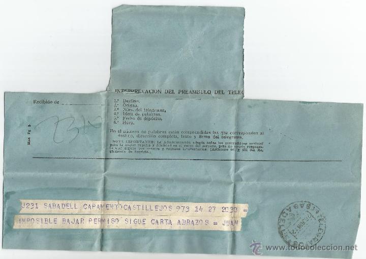 ANTIGUO TELEGRAMA ENVIADO DESDE CAMPAMENTO CASTILLEJOS DE SABADELL (Sellos - España - Telégrafos)