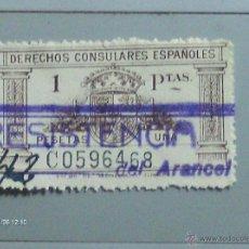 Sellos: DERECHOS CONSULARES ESPAÑOLES 1 PTAS MARRON . Lote 39842672