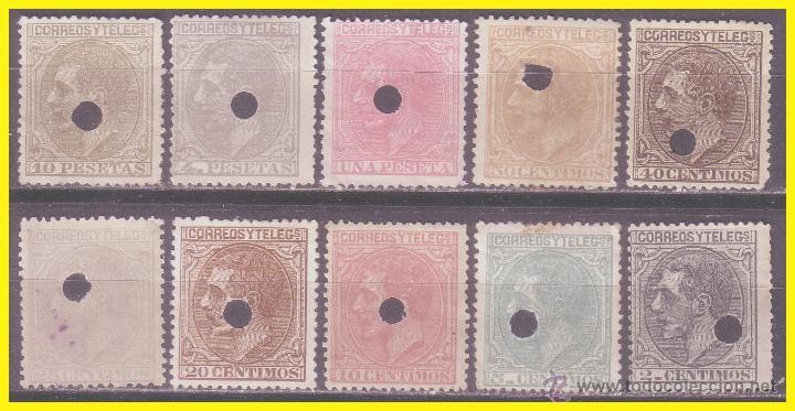 1879 TELÉGRAFOS, ALFONSO XII, EDIFIL Nº 200T A 209T (O) SERIE COMPLETA (Sellos - España - Telégrafos)