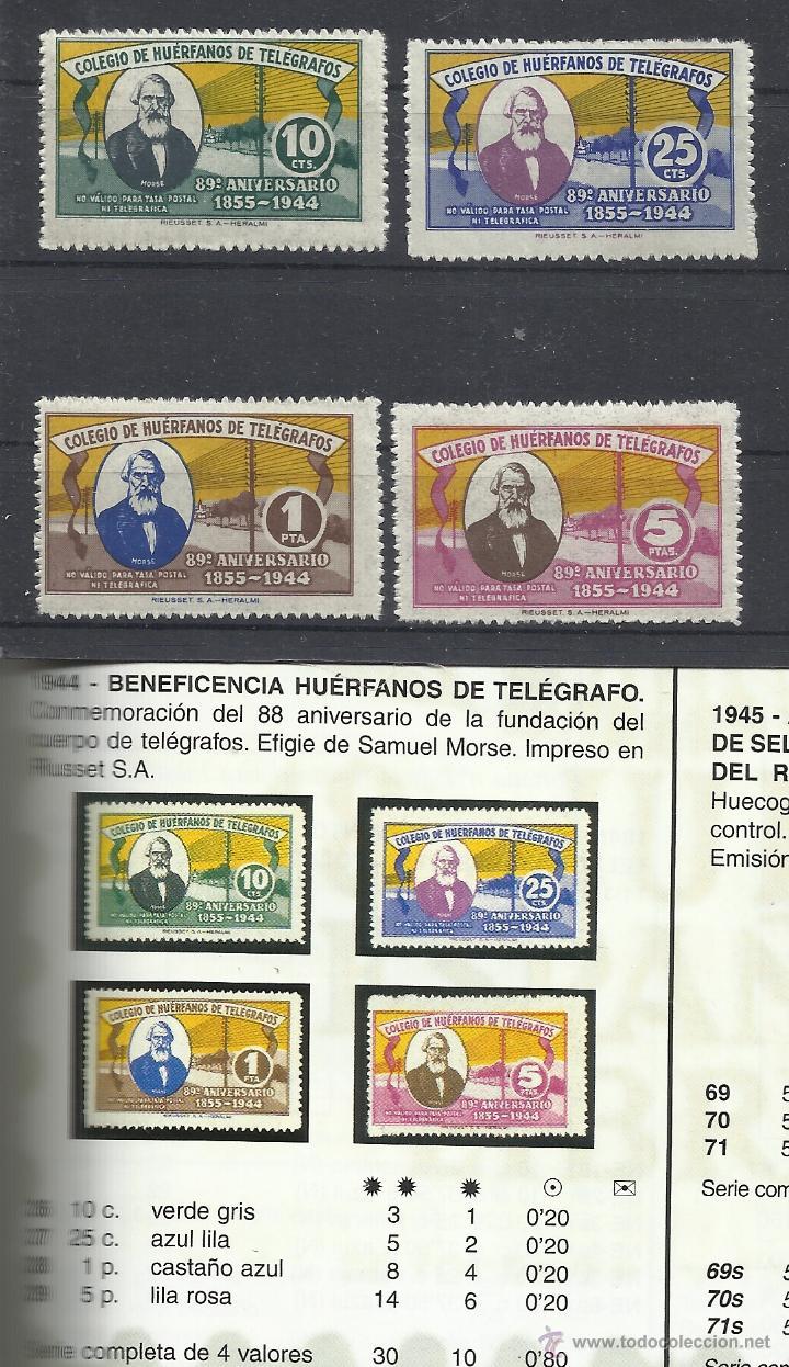 4100 - SERIE COMPLETA AÑO 1944 BENEFICOS 30,00€, HUERFANOS CUERPO TELEGRAFOS ESPAÑA SAMUEL MORSE 88 (Sellos - España - Telégrafos)