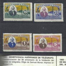 Sellos: 4100 - SERIE COMPLETA AÑO 1944 BENEFICOS 30,00€, HUERFANOS CUERPO TELEGRAFOS ESPAÑA SAMUEL MORSE 88. Lote 42485099