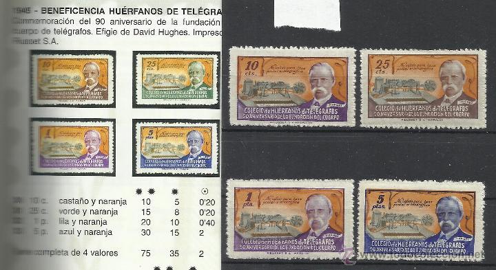 2001-SERIE COMPLETA AÑO 1945 30/33. BENEFICOS 75,00€, HUERFANOS CUERPO TELEGRAFOS ESPAÑA SAMUEL (Sellos - España - Telégrafos)