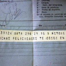 Sellos: TELEGRAMA, TELEGRAFOS, GUINEA ESPAÑOLA, BATA - VALENCIA, 1947. Lote 47134920