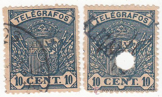 ESCUDO DE ESPAÑA 1901. EDIFIL 32. DOS EJEMPLARES: MATASELLADO Y TALADRADO. (Sellos - España - Telégrafos)