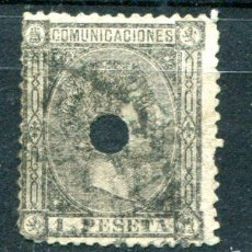Sellos: EDIFIL 169 T DE TELÉGRAFOS. 1 PTA ALFONSO XII, AÑO 1875. CON TALADRO. Lote 61129259
