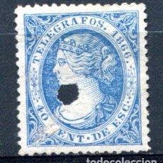 Sellos: EDIFIL 14 DE TELÉGRAFOS. 40 CENT AÑO 1866. CON TALADRO.. Lote 93832560