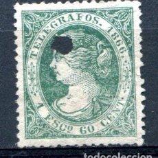 Sellos: EDIFIL 15 DE TELÉGRAFOS. 1 ESC. 600 CEN, AÑO 1866. CON TALADRO.. Lote 93832700