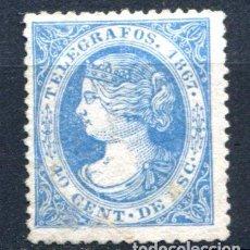 Sellos: EDIFIL 18 DE TELÉGRAFOS. 40 CENT, AÑO 1867. APARENTEMENTE NUEVO, CON TALADRO SIN DESPRENDER.. Lote 93833065