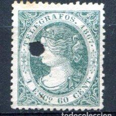Sellos: EDIFIL 19 DE TELÉGRAFOS. 1 ESC 600 MIL. AÑO 1867. CON TALADRO. Lote 93833265