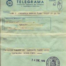 Sellos: ESPAÑA TELEGRAMA - ACADEMIA MILITAR DE ZARAGOZA - 1975. Lote 96177667