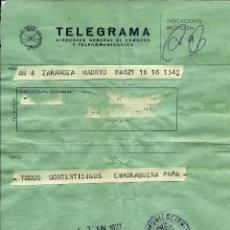 Sellos: ESPAÑA TELEGRAMA - ACADEMIA MILITAR DE ZARAGOZA - 1975. Lote 96177923