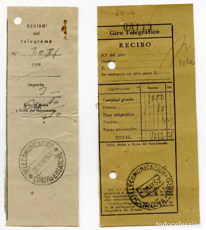Sellos: 1953. Dos recibos, uno de telegrama y el otro de giro telegráfico, con sellos huérfanos de 10 cts - Foto 2 - 107282959
