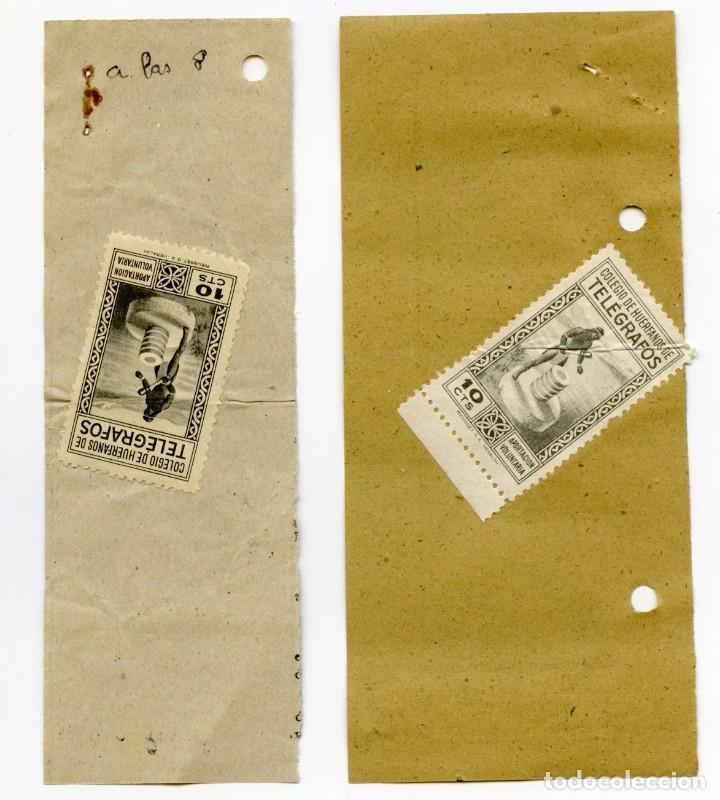 Sellos: 1953. Dos recibos, uno de telegrama y el otro de giro telegráfico, con sellos huérfanos de 10 cts - Foto 3 - 107282959