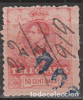 TELEGRAFOS EDIFIL Nº 46, ALFONSO XIII 10 PESETAS, AÑO 1905, USADO (Sellos - España - Telégrafos)