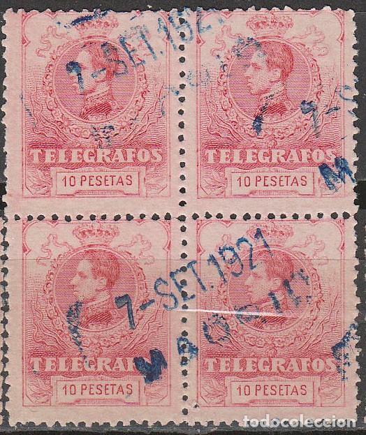 TELEGRAFOS EDIFIL Nº 46, ALFONSO XIII 10 PESETAS, AÑO 1905, USADO EN BLOQUE DE 4 (Sellos - España - Telégrafos)
