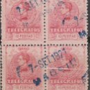Sellos: TELEGRAFOS EDIFIL Nº 46, ALFONSO XIII 10 PESETAS, AÑO 1905, USADO EN BLOQUE DE 4. Lote 120063219