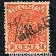 Sellos: EDIFIL TELEGRAFOS Nº 35, ESCUDO DE ESPAÑA, USADO CON MARCA DE CARTERIA DE MÁLAGA. Lote 120833815