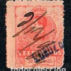 Sellos: EDIFIL TELEGRAFOS Nº 51, ALFONSO XIII CON MARCA DE CARTERIA SANTA CRUZ DE TENERIFE, USADO. Lote 120834427